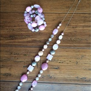 Jewelry - Matching necklace and bracelet: purple, pink, grey